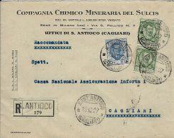 REGNO FLOREALE 2x25 C + 1,25 L 1927 RACC SANT'ANTIOCO X CAGLIARI MINIERE - Marcophilia