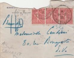 Yvert 199 X 3 ( Voir Scan ) Sur Lettre Pneumatique Paris R Montaigne 1928 Verso Cachet Paris 110 Rue De Rennes - Frankreich