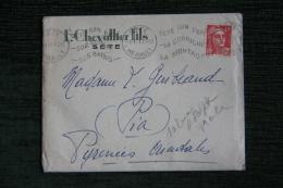 Enveloppe Timbrée Publicitaire  Avec Lettre - SETE, F.CHEVALLIER Et Fils. - Lettres & Documents