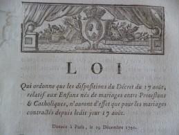 Loi Paris 19/12/1790 Qui Ordonne Les Dispositions Relatif Aux Enfants De Mariage Entre Protestants Et Ctholiques - Décrets & Lois