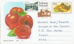 FRUIT-L11 - AFRIQUE DU SUD Entier Postal Corne D'abondance Carte Illustrée Brugnons - Afrique Du Sud (1961-...)