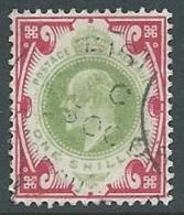 1902 GRAN BRETAGNA USATO EFFIGIE EDOARDO VII 1 S - U3-2 - 1902-1951 (Re)
