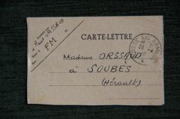 Carte Lettre En Franchise Militaire Adressée à SOUBES ( 34 ), Le 25 AVRIL 1940. - FM-Karten (Militärpost)