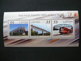Latvia Lettland Lettonie 2012 ** MNH # Mi. 845/7 Block 31 Railway Bridges Of Baltic States.Trains - Lettonie