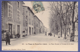 CPA Animée La Place Morand Et L'Avenue De La Gare PEAGE DE ROUSSILLON 38 - France