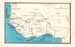 AFRIQUE OCCIDENTALE FRANCAISE CARTE GEOGRAPHIQUE SENEGAL GUINEE FRANCAISE COTE D'IVOIRE CAMEROUN DAHOMEY MAP - Cartes Postales