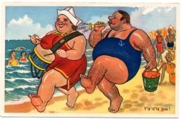 CPSM Humour Couple Corpulent Plage Fête  Y'a D'la Joie !!   9299 - Autres Illustrateurs