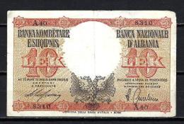 Albanie - Albania 1944 Billet 10 Leke Pick 11 Occasion Very Fine - Albania