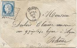 Basses Pyrénées - Arzacq Pour Un Musicien Au 92e De Ligne à LyoN. GC + CàD Type 16 - 1849-1876: Classic Period