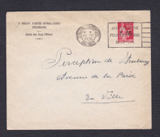 283 III Ligne Bas Enflee Milieu Paix 50c Surcharge F.M.  Lettre 2è Groupe D' Autos Mitrailleuses Strasbourg 26/3/1938 - Postmark Collection (Covers)