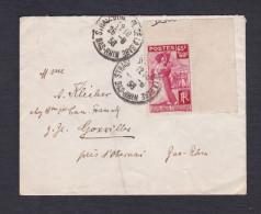 Marcophilie 401 Aide Aux Rapatries D'Espagne Seul Sur Lettre 28/8/38 Strasbourg Vers Goxwiller - Postmark Collection (Covers)