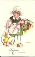 Heureux Anniversaire Canard Fillette Panier Fleurs - Birthday