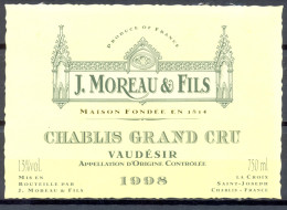 274 - Chablis Grand Cru Vaudésir - 1998 - J. Moreau Et Fils - La Croix Saint Joseph - Chablis - Bourgogne