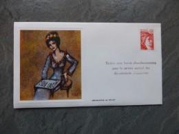 MARIANNE Sans Barres Phosphorescentes, Pour Outre-mer,   Enveloppe Maximum 1973 Sérigraphie ; Ref 680 PH 07 - Cartes-Maximum