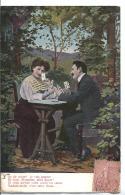 CPA Fantaisie - Couple Partie De Cartes As De Coeur Je Vais Gagner...- édition Alemagne - 1906 - Cartes à Jouer