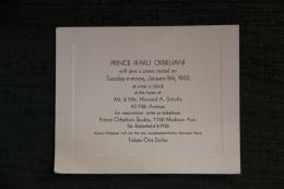 Faire Part à L'occasion D'un Récital De Piano Par Le Prince IRAKLI ORBELIANI Chez Mr SCHOLLE, New York, Madison Avenue - Faire-part