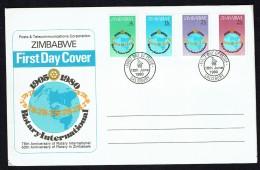 1980Rotary International 75th Ann.  Complete Set On Single Unaddressed  FDC - Zimbabwe (1980-...)