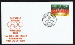 1980   Moscow Olympic Games  Unaddressed  FDC - Zimbabwe (1980-...)