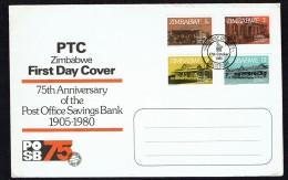 1980  75th Ann. Post Office Savings Bank  Complete Set On Single  Unaddressed  FDC - Zimbabwe (1980-...)