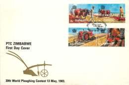 1983  World Plouwing Contest -     Complete Set On Single  Unaddressed  FDC - Zimbabwe (1980-...)