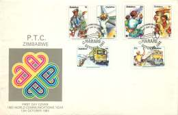 1983  Communication Year  -     Complete Set On Single  Unaddressed  FDC - Zimbabwe (1980-...)