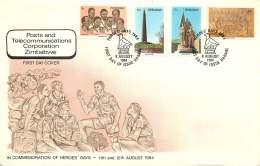 1984   Heroes' Day     Complete Set On Single  Unaddressed  FDC - Zimbabwe (1980-...)