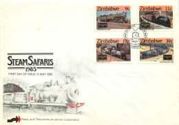 1985  Steam Locomotives      Complete Set On Single  Unaddressed  FDC - Zimbabwe (1980-...)