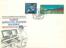1985  Satellite And Earth Station      Complete Set On Single  Unaddressed  FDC - Zimbabwe (1980-...)