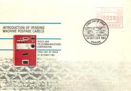 1985  Introduction Of Vending Machine Postage Labels    Complete Set On Single  Unaddressed  FDC - Zimbabwe (1980-...)