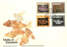 1986  Moths  -  Complete Set On Single  Unaddressed  FDC - Zimbabwe (1980-...)
