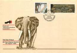 1986  Non-aligned Summit Conference   -  Complete Set On Single  Unaddressed  FDC - Zimbabwe (1980-...)