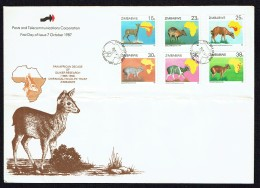 1987  Duikers And Population Maps -   Complete Set On Single  Unaddressed  FDC - Zimbabwe (1980-...)