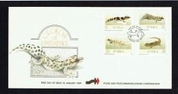 1989  Geckos     Complete Set On Single  Unaddressed  FDC - Zimbabwe (1980-...)