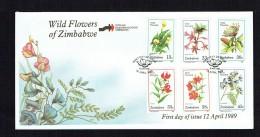 1989  Wild Flowers     Complete Set On Single  Unaddressed  FDC - Zimbabwe (1980-...)
