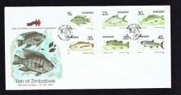 1989  Fishes      Complete Set On Single  Unaddressed  FDC - Zimbabwe (1980-...)