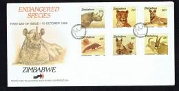 1989  Endangered Animals: Rhino, Cheetah, Wild Dog, Pangolin, Hyena, Antelope- Complete Set On Single  Unaddressed  FDC - Zimbabwe (1980-...)