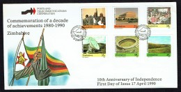 1990    10th Ann. Of Independance -Complete Set On Single  Unaddressed  FDC - Zimbabwe (1980-...)