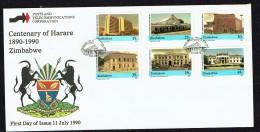 1990   Centenary Of Harare  -Complete Set On Single  Unaddressed  FDC - Zimbabwe (1980-...)