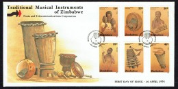 1991  Traditional Musical Instruments  -Complete Set On Single  Unaddressed  FDC - Zimbabwe (1980-...)