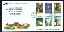 1991  Commonwealth Heads Of Government Meeting - Waterfalls -Complete Set On Single  Unaddressed  FDC - Zimbabwe (1980-...)