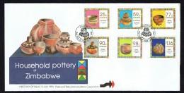 1993  Household Pottery   -Complete Set On Single  Unaddressed  FDC - Zimbabwe (1980-...)