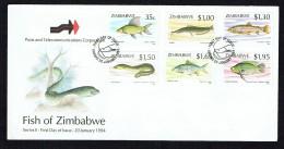 1993  Fishes; Trout, Salmon, Eel, Carp   -Complete Set On Single  Unaddressed  FDC - Zimbabwe (1980-...)