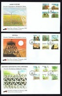 1994  4th Definitive Issue Agriculture, Mining, Historical Buildings  -Complete Set Of 16 On 3  Unaddressed  FDC - Zimbabwe (1980-...)