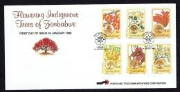 1996  Flowering Trees   -Complete Set On Single Unaddressed  FDC - Zimbabwe (1980-...)