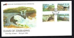 1996  Dams  -Complete Set On Single Unaddressed  FDC - Zimbabwe (1980-...)