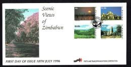 1996  Scenic Views  -Complete Set On Single Unaddressed  FDC - Zimbabwe (1980-...)