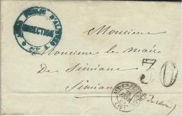 """1860- Lettre En Franchise D'AIX  Cad T15 Taxe 30 Dt  """" ASILE PUBLIC D'ALIENES * AIX * - Marcophilie (Lettres)"""