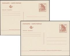 Belgique 1992. Carte Postale Entier à 15 F, Version Allemand-français (P484V). 2 Couleurs De Carton Différentes. Traquet - Moineaux