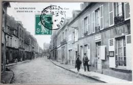 CPA 14 Ouistreham Grande Rue Poste Animé Facteur 1910 - Ouistreham