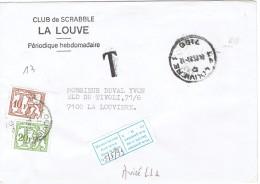 Scrabble Lettre Sans Timbre Taxée à 30 F (TX 82 + TX 83), La Louvière 4/5/1993